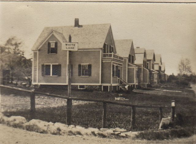 Turn-of-the-century photograph of houses on White Lane