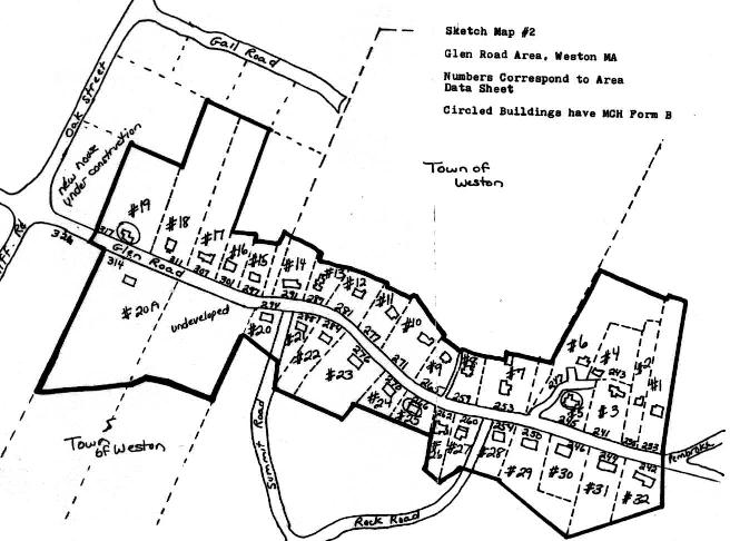 A sketch map of the Glen Road Area