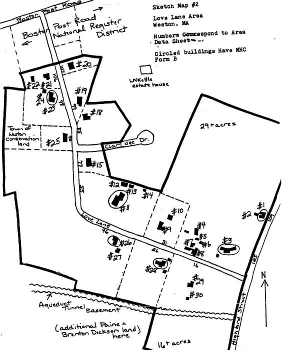A sketch map of the Love Lane Area