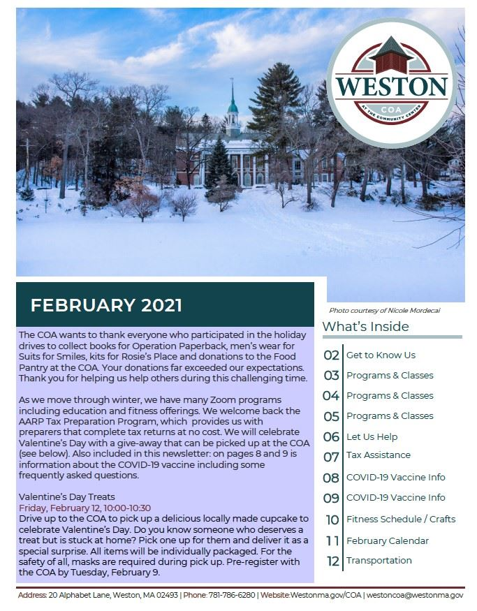 February COA newsletter cover 2021